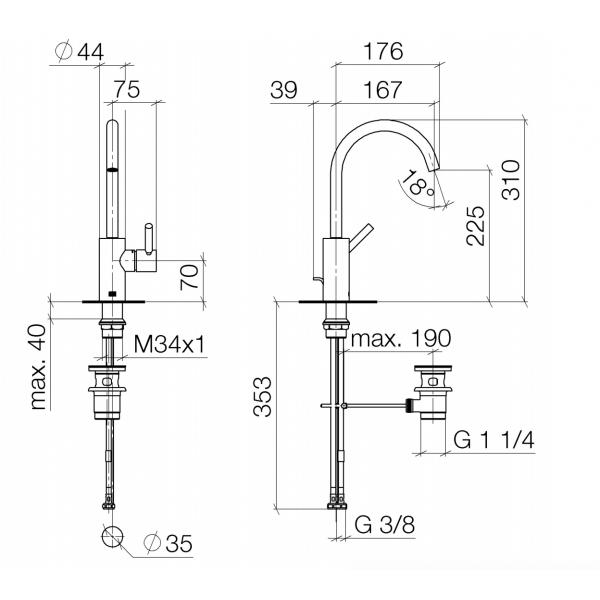 Miscelatore lavabo con bocca 167 mm - Meta Dornbracht