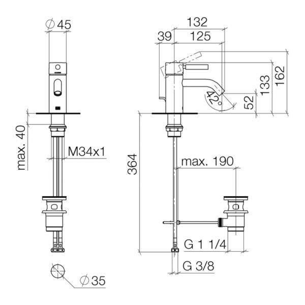 Miscelatore lavabo con bocca 125 mm - Meta Dornbracht