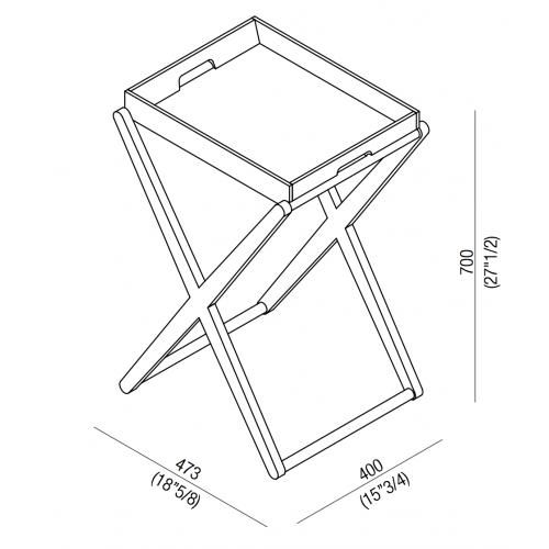 Tavolino portaoggetti alto con vassoio X by Agape - contecom