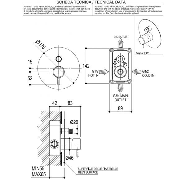 MISCELATORE MONOCOMANDO PER DOCCIA REVERSO - Q0BA6150